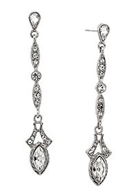 """For understated elegance, look no further than these beautiful linear drop earrings that dazzle with every move. Hanging down from the pear-shaped post are trifectas of round-cut crystals followed by a stunning navette-cut faux diamond. Features and Facts:  Measures: 2.6"""" L x 0.5"""" W.  Made in California.  Nickel-Free."""