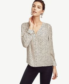 Petite Dot Silk Shirred V-Neck Blouse | Ann Taylor