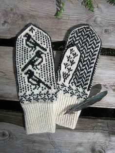Magpie mittens 4 by yarn jungle, via Flickr