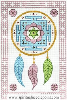 "Spiritual needlepoint - Mandala Dreamcatcher, hand-painted, 7"" x 11"" on 13 mesh canvas, made in Sedona, Arizona"