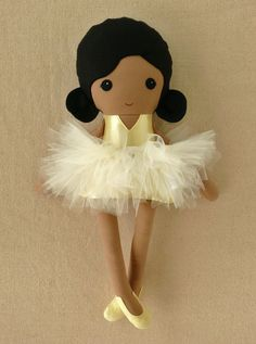 Fabric Doll Rag Doll Black Haired Girl in Pale Yellow Ballet Outfit via Etsy