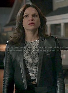 Regina's snake print top and cropped leather jacket on Once Upon a Time.  Outfit Details: https://wornontv.net/48857/ #OUAT
