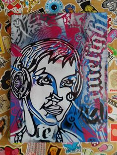 painting of dj with head phones v by AbstractGraffitiShop on Etsy, $60.00