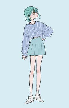 Cartoon Kunst, Cartoon Art, Fashion Sketches, Art Sketches, Cute Art Styles, Korean Art, Drawing Clothes, Kawaii Art, Anime Outfits