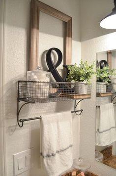 farmhouse bathroom organization. farmhouse bathroom decor. bathroom storage. towel rack