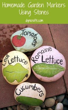 So you know those adorable little garden rocks? Did you know that you can make them yourself? You can and very easily. You just have to gather a few flat rocks. You should be able to find these easily outdoors, particularly if you live near a river, creek or lake. River rocks come in all different sizes so choose a few in different sizes to give your garden a bit of uniqueness.