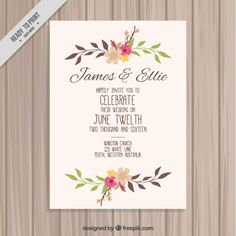 Hand drawn floral wedding card Free Vector