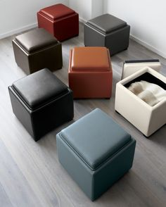 How about two or even three of these in your TV/family room? they could store S's music stuff. Plus look how the top turns over so it can be a tray-top thing. Gray or dark gray is my recommendation. Stow Smoke Leather Storage Ottoman in Ottomans & Cubes Crate Furniture, Find Furniture, Furniture Decor, Furniture Design, Living Room Storage, Bedroom Storage, Crate And Barrel, Storage Ottoman Coffee Table, Cube Storage