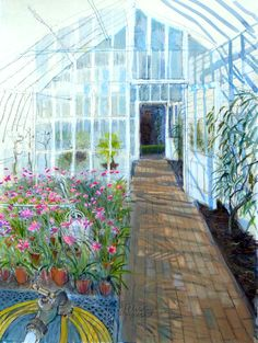 Felicity House,    GREENHOUSE NERINES watercolour & pastel