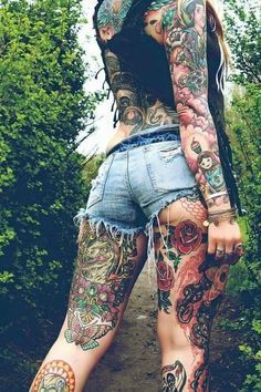Girl tattooed all over the body  - http://tattootodesign.com/girl-tattooed-all-over-the-body/  |  #Tattoo, #Tattooed, #Tattoos