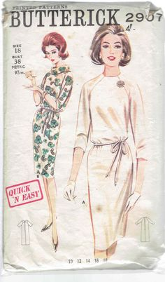 Vintage Butterick Quick 'N Easy Shift Dress With Raglan Sleeves and Jewel or Cowl Collar Sewing Pattern. Pattern 2907 has been cut and is complete. Size 14 which will fit a bust, a waist and a hip. Motif Vintage, Vintage Dress Patterns, Dress Vintage, Retro Mode, Vintage Mode, 1960s Fashion, Vintage Fashion, Mode Vintage Illustration, Vestidos Retro