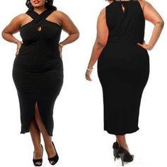 Black Plus Size Cross Halter Jersey Dress