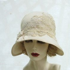 Womens Hat 1920's Edwardian Wedding Hat Vintage Style Cloche Bridal Custom Made Hats in Ivory Wide Brim. $235.00, via Etsy.