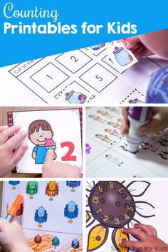 Counting Printables for Kids - Simple Fun for Kids Fun Activities For Preschoolers, Printable Activities For Kids, Brain Activities, Infant Activities, Number Activities, Preschool Ideas, Christmas Worksheets Kindergarten, Kindergarten Activities, Kids Cuts