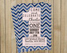 Blue Chevron One First Birthday Invitation, Custom Digital File, Printable