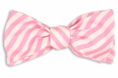 Rose Linen Stripe Bow Tie from High Cotton