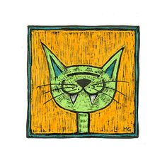 Green cat picture Portrait of a green stupidcat on by stupidcats