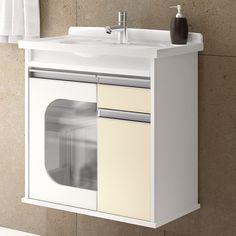 para Banheiro Porta Vidro Suspenso Presence Biscuit em Móveis para  #7E6B4E 1500 1500