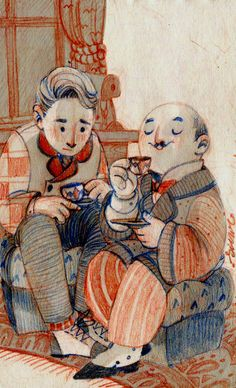 Hercule Poirot and Hastings drinking chocolate by s-u-w-i