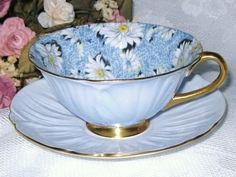 Teacup Shelley Oleander BLUE DAISY CHINTZ  <✿ repinned by Colette's Cottage✿