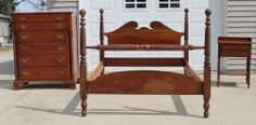 WILLETT Solid Cherry Rope Twist Bedroom Set HIGH CHEST DOUBLE BED NIGHT STAND