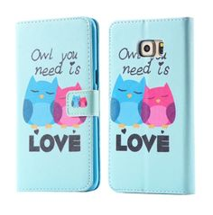 Cartoon Owl / Elephant / Flower Artist Colorful Card Slot Wallet Case Flip Phone Cover for Samsung Galaxy S6 Edge Plus / S6 edge / S6