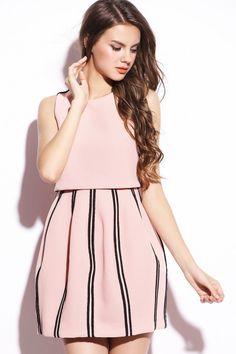 LUCLUC Apricot Striped Sleeveless Dress