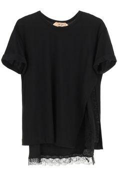 Only Online, N21, Cotton Lights, Black Tank Tops, Crew Neck, Short Sleeves, Silk, Female, Cuffs