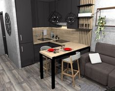 27 Modern Kitchen Interior Design That You Have to Try Small Apartment Bedrooms, Small Apartment Interior, Apartment Layout, Apartment Design, Small Apartments, Condo Interior Design, Kitchen Interior, Kitchen Walls, Furniture Design