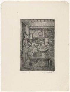 * Easton, state II. (c. 1941)      Drypoint - Louise Bourgeois