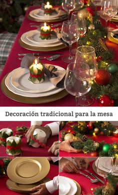 Traditional decoration for Christmas table # Christmas # Decoration # Deco . Christmas Dining Table, Christmas Table Settings, Christmas Tablescapes, Christmas Table Decorations, Decoration Table, Holiday Tables, Noel Christmas, All Things Christmas, Christmas Crafts