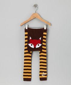 Brown & Yellow Fox Leggings - Infant