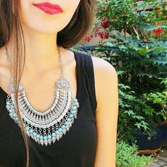 Tribal Art Statement Necklace #necklace #lookoftheday #chic #style #silvernecklace - 22,90 € @happinessboutique.com