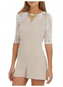 STYLE REPUBLIC | Romper with Lace Inset Stone