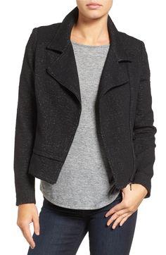 Main Image - Halogen® Jacquard Moto Jacket (Regular & Petite)