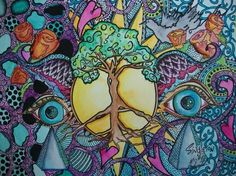beautiful and trippy art with peace vibes!