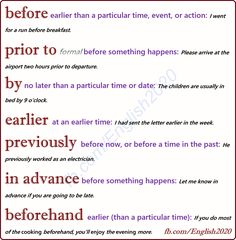 Vocabulary - Words related to before