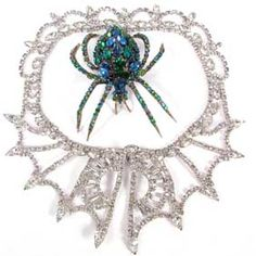 Rhinestone Choker and Spider Brooch