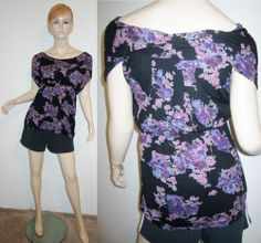 FREE PEOPLE Anthropologie 100% Viscose Stretch Black Purple FloralTunic Top S...http://stores.shop.ebay.com/vintagefluxed