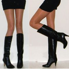 vintage boots sz 7 BEST 70s Italian black leather slouch boots leather sole leather lining