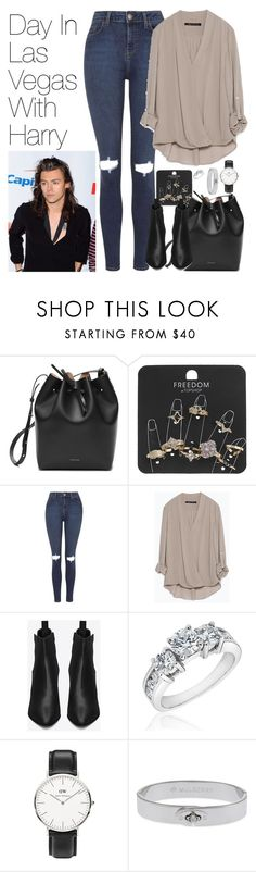 """""""Day in Las Vegas with Harry"""" by onedirectionimagineoutfits99 ❤ liked on Polyvore featuring Topshop, Zara, Yves Saint Laurent, Reeds Jewelers, Daniel Wellington and Mulberry"""