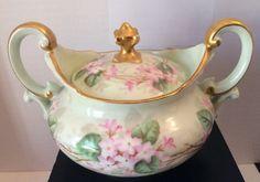 Limoge T V France Decorative Green Pink Floral Gold Trim Two Handle Sugar Bowl   eBay