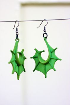 Wild Green Fin Earrings Swamp Thing Fashion by LemantulaDesigns