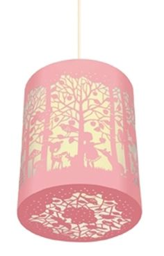 DJECO papierknipkunst lamp in het bos Abbat Jour, Deco Pastel, Childrens Lamps, Lace Lamp, Pink Forest, Origami, Chinese Lanterns, Forest Friends, Little Girl Rooms