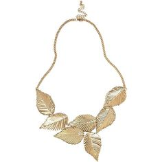 River Island Gold Tone Leaf Necklace ($9.64) ❤ liked on Polyvore