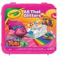 The Crayola All That Glitters Trolls set offers a sparkling assortment of glitter-infused products in delightful Trolls themes. Create art that twinkles and shines with glitter crayons paints glitte...