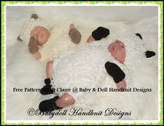 FREE 'Little Lamb' Romper set 10-16 inch dolls-knitting pattern, romper, doll, lamb, lamb outfit, sheep, spring, reborn