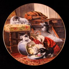 Cat Kitten Decorator Plate Mischief with the Hatbox by W.S. George #5902D 1990