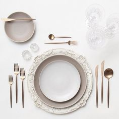 gold rimmed drinking glasses and rosegold flatware gray tableclothes - Google Search