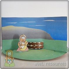 Woman at the well (John Bible Crafts For Kids, Bible Study For Kids, Bible Lessons For Kids, Diy For Kids, Sunday School Activities, Bible Activities, Sunday School Crafts, Activities For Kids, Diorama